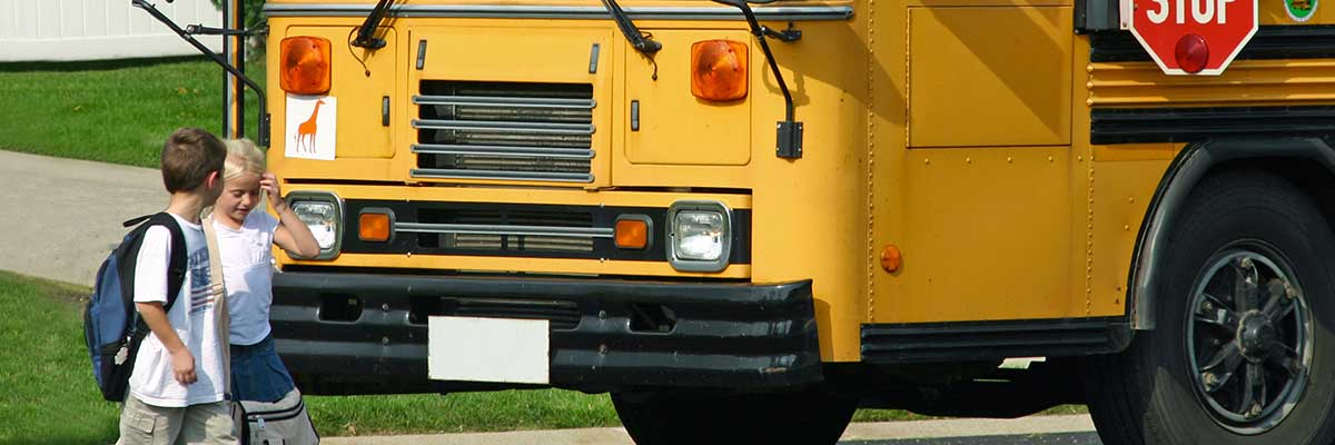 Students crossing | School bus safety