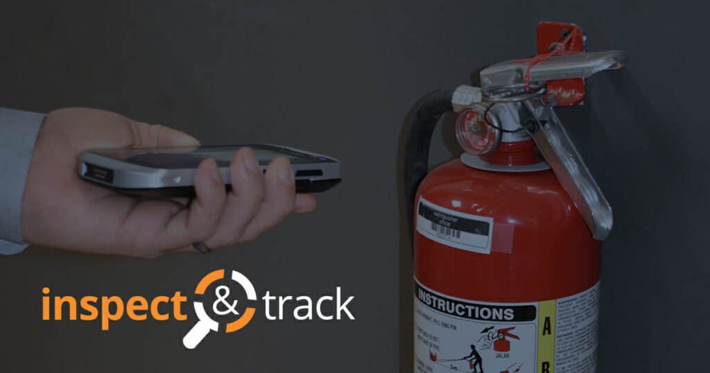 automated inspection software InspectNTrack logo and user inspecting fire extinguisher