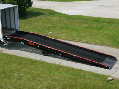 A portable yard ramp linked to semi-truck