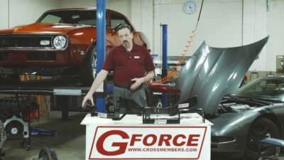 A spokesperson showing off a G Force Transmission Crossmember