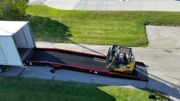 A forklift accessing a semi truck loading ramp